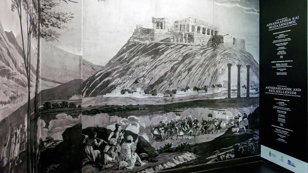 Η πανοραμική εικόνα που παρουσιάζεται στον εκθεσιακό χώρο του Αεροδρομίου αντιγράφει ένα Πανοραμικό Χαρτί Ταπετσαρίας που τυπώθηκε στη Γαλλία το 1828.