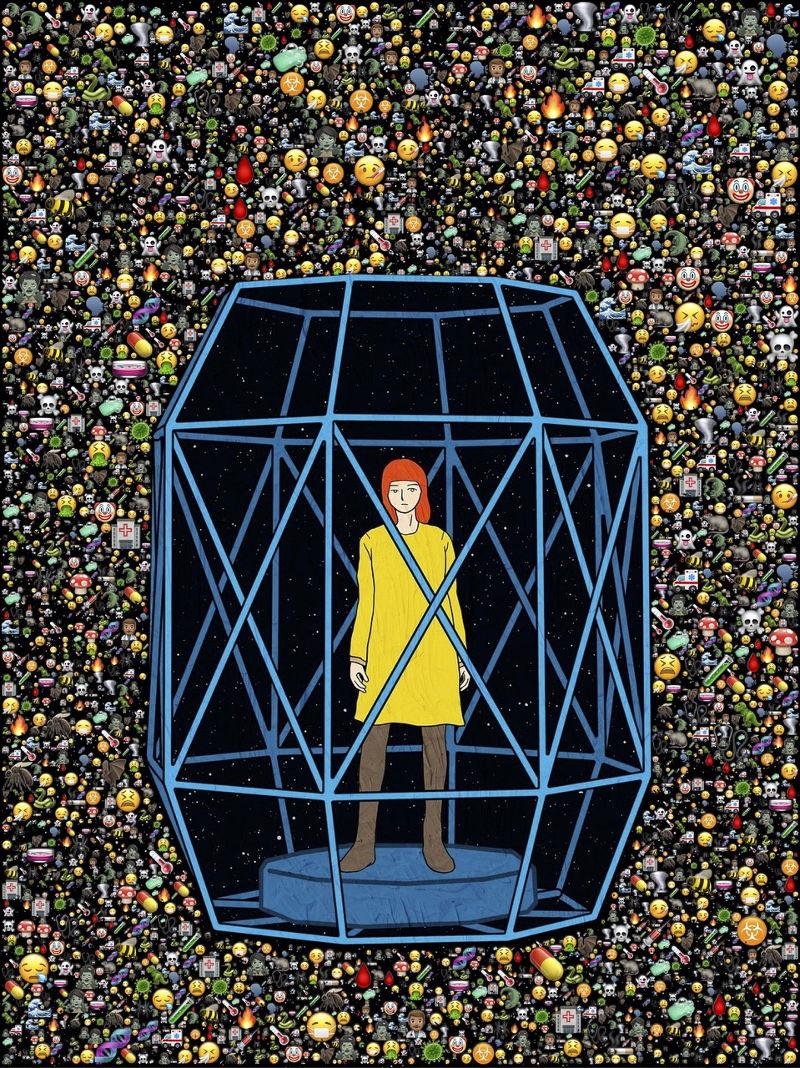 Γυναίκα σε κλουβί lockdown covid