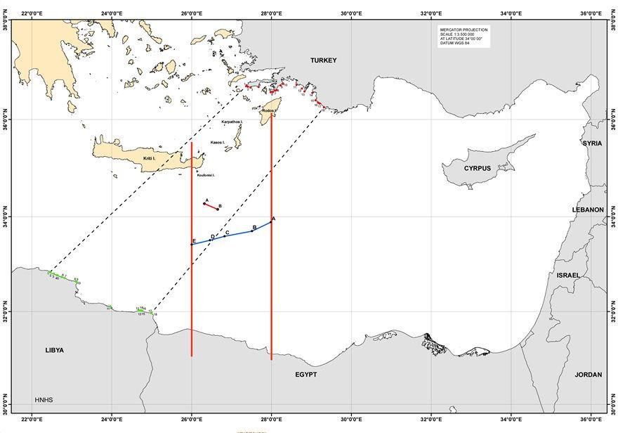 Χάρτης μεταξύ Αιγύπτου Ελλάς Τουρκία