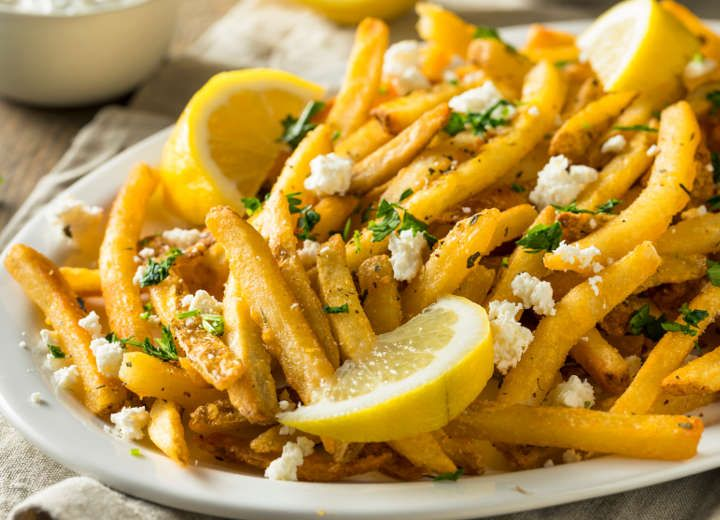 homemade fries with feta cheese