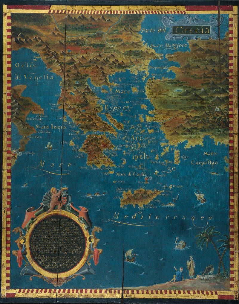 map of greece with notes in italian